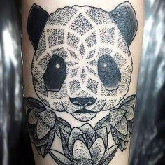 Dotwork Panda Tattoo Idea