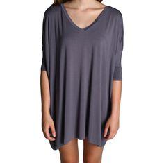 Charcoal Grey Piko Tunic V-Neck Half Sleeve Dress