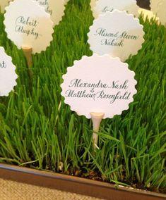 Golf tee place card holders 2/Escort Card by paulasbartlion wedding place cards, sports wedding place cards #wedding #weddings
