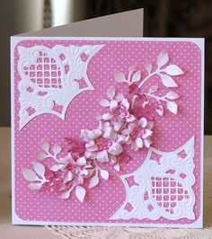 Anja corners, scrunched and inked flowers, leafy branches. Birthday Cards For Women, Handmade Birthday Cards, Happy Birthday Cards, Homemade Greeting Cards, Greeting Cards Handmade, Homemade Cards, Pinterest Birthday Cards, Marianne Design Cards, Embossed Cards