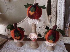 Fall pumpkins table decoration on wood pedestals Fall centerpiece fabric pumpkins set doilies Fall sign Thanksgiving Cottage Chic decor