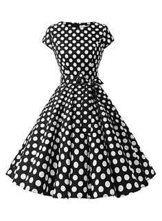 Dressystar Vintage 1950s Polka Dot and Solid Color Prom Dresses Cap-sleeve XXXL Black White Dot B