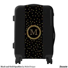 Black and Gold Sparkles Elegant Personalized Luggage