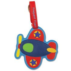 "Stephen Joseph toys Luggage Airplane Tags. Clear window for personal I.D information. Cute Travel message on the strap. Measures approximately 4"" x 6"", including strap."