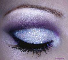 purple and white glitter eye shadow
