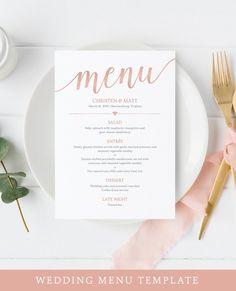 Rose Gold Wedding Menu Template by MyCrayons Design Wedding Desserts, Wedding Decorations, Decor Wedding, Wedding Foods, Wedding Ideas, Wedding Table, Wedding Planning, Wedding Menu Template, Wedding Menu Cards