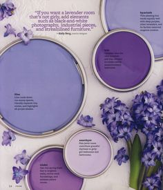 """Color: The Complete Guide for Your Home """"If you want a lavender room that's not girly, add elements such as black-and-white photography, industrial pieces, and streamlined furniture."""""""