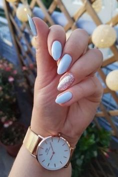 Latest Blue Nails Ideas For Your Appearance 27 Cute Nails, Pretty Nails, Pastel Blue Nails, Blue Nails Art, Light Blue Nails, Gel Nails, Acrylic Nails, Glitter Nails, Blue Glitter