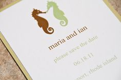 Sea Horse Wedding Save the Date Sea Side Layered by Bellezaeluce, $15.00