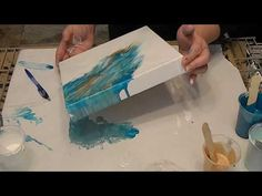 (27) Four Canvas Dip Technique with Acrylic Pour, Turquoise, Blue and Brown - YouTube