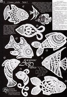 Que lindos peixinhos em crochê irlandês!
