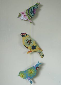 Handmade Paper Birds Garland Bunting - use interesting fabric or paper to make garland of any animal or shape