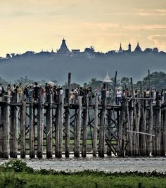 U Bein , wooden bridge , Mandalay ,Myanmar.