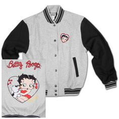 Have you seen this cool baseball jacket featuring Betty and her pal Pudgy? Just in time for baseball season!