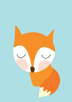 Baby Fox Resting Poster  Modern Animal by Sealandfriends on Etsy, $10.50