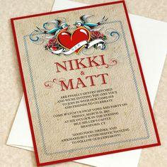 Vintage Tattoo Wedding Invitation Sample by willowglenstationery