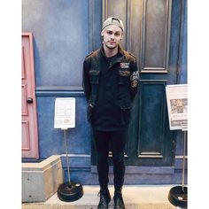 New gram from Michael - when I was in Japan. standing infront of a door. with a hat on. it was cold. Japan was cold not the hat. #thehatwaswarm by michaelclifford