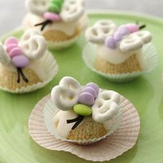 Butterfly Cupcake Petits Fours - These little gems are perfect for a spring or summer gathering, or a baby or bridal shower.