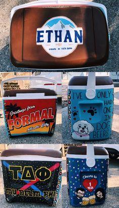 frat formal cooler, anniversary cooler, star wars, bitmoji cooler, busch cooler, formal cooler Sorority Canvas, Sorority Paddles, Sorority Crafts, Sorority Recruitment, Nola Cooler, Diy Cooler, Beer Cooler, Painted Fraternity Coolers, Frat Coolers