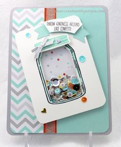 This shaker card was created using the new Stampin'UP! Jars of Love stamp set and matching framelits! visit my blog for more details at www.createwithgeorgia.com #stampin'UP!, #jarsoflove, #createwithgeorgia, #luv2stamp, #shakercard