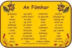 Mata Focal: An Fómhar Irish Gaelic Language, Gaelic Words, Primary Teaching, Primary School, Literacy And Numeracy, Irish Celtic, Classroom Activities, Languages, Education