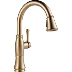 A timeless design for today's homes, this sleek faucet will add a perfect update to any home decor. This stunning kitchen faucet is finished in a champagne bronze.