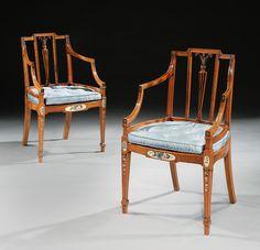 George Hepplewhite: A Pair of Satinwood Armchairs