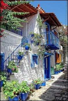 Greece - use of many pots and bold color.