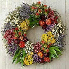 Farmers' Market Herb Wreath Perfect for your french country home decor. Hand made on a family owned farm. Made with a medley of colorful dried flowers. Blue lavender, purple mexican sage, creamy achilla of the pearl, golden yarrow and orange safflowers. Easter Wreaths, Fall Wreaths, Christmas Wreaths, Garland Hanger, Wreaths And Garlands, Outdoor Wreaths, Floral Wreaths, Fall Decor, Holiday Decor