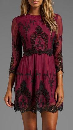 Burgundy black floral mini dress