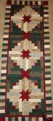 Log Cabin Tabla de patrones del edredón Runner Estrella de Navidad | eBay
