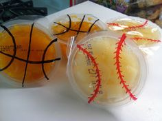 michele hodge, I thought this would be cute for Zane's and Zoey's games...Fun sport themed fruit cups for team snacks or end of season party.