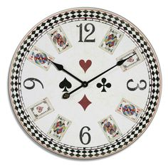 Playing Card Clock - Alice in Wonderland style.