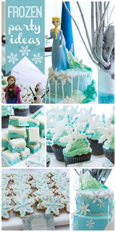 A Frozen birthday dessert table with snowflake cookies and cupcakes, coconut ice and other frosty sweets!  See more party planning ideas at CatchMyParty.com!
