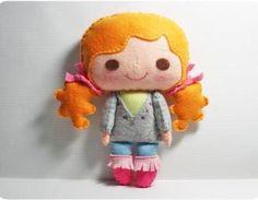 SCHATTIG!  Bella girl - doll pattern, felt doll, PDF