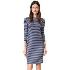 Just Female Nine Dress (125 CAD) ❤ liked on Polyvore featuring dresses, blue jersey, 3/4 sleeve dress, 3/4 sleeve jersey dress, just female and ribbed dress