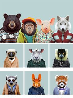 """Spanish artist Yago Partal's fun and colorful project """"Zoo Portraits"""" effectively humanizes animals."""