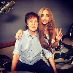 """It must be nice to call Paul McCartney your buddy! Lady Gaga held up a peace sign while posing with musician Paul McCartney. """"Always a good time with my buddy. I'll never forget when he called me last year to work and I hung up the phone cuz I thought it was a prank!"""" she captioned her snap on Feb. 3, 2015."""