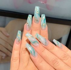 In seek out some nail designs and ideas for your nails? Listed here is our set of must-try coffin acrylic nails for stylish women. Summer Acrylic Nails, Best Acrylic Nails, Summer Nails, Turquoise Acrylic Nails, Acrylic Nails With Glitter, Colourful Acrylic Nails, Acrylic Nail Art, Coffin Nails Long, Long Nails