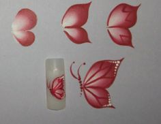 One Stroke Painting: Two types of butterflies for + - Nageltypen