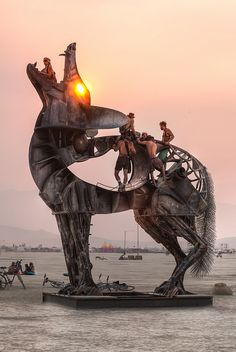"""www.burningman.com/installations/art_honor.html#670 by bryan tedrick glen ellen, CA """"Coyote is a steel sculpture standing 25′ tall by 24′ wide. The head is kinetic and can rotate 360 degrees. The sculpture is climbable. Coyote is native to wild places just as Burners are home at BRC."""" My Burning Man 2013 photos: Duncan.co/burning-man-2013/ My Burning Man 2012 photos: Duncan.co/burning-man-2012/"""