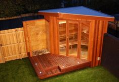 Outdoor Sauna, Steam and Shower. put on deck outside Master bedroom