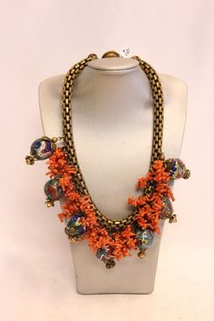 Miriam Haskell Chinese Cloisonne Dragon Beads and Coral