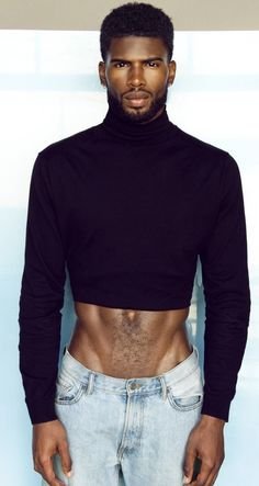Black male models in the Cropped Tops, Fashion Models, Men's Fashion, Hot Black Guys, Hot Guys, Outfit Jeans, Mens Crop Top, Black Male Models, Handsome Black Men