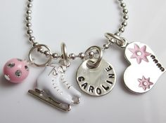 Hand Stamped Personalized Ice Skating Girl's Charm Necklace for Little Figure Skaters, You choose color. $20.00, via Etsy.