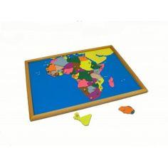 Puzzle - mapa Afrika - rámeček z bukového dřeva
