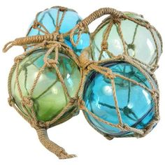 Glass Fishing Floats - Set of 4 ($95) ❤ liked on Polyvore featuring home, home decor, curiosities, fishing home decor, blue home decor, glass home decor and green home decor