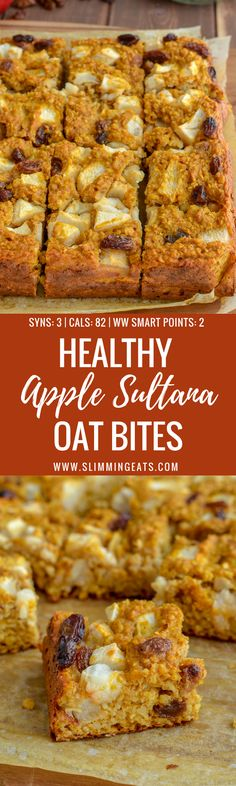 Healthy Apple Sultana Oat Bites which are super easy to make and perfect for the whole family to enjoy. They contain no artificial sweeteners and are a perfect breakfast, dessert or snack. Just 3 syns on Slimming World or 2 WW Smart Points per bite Slimming World Biscuits, Slimming World Puddings, Slimming World Cake, Slimming World Desserts, Slimming World Breakfast, Slimming World Cookies, Slimming World Flapjack, Slimming World Baked Oats, Easy Slimming World Recipes