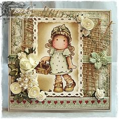 "Magnolia Card by LLC DT Member Becky Hetherington, using papers from Maja Design's ""Life in the Country"" collection."