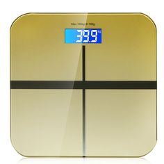 Digital Personal Bathroom Body Glass Weight Heath Fitness LCD Scale 400lb/180kg (Gold) -- More info could be found at the image url.